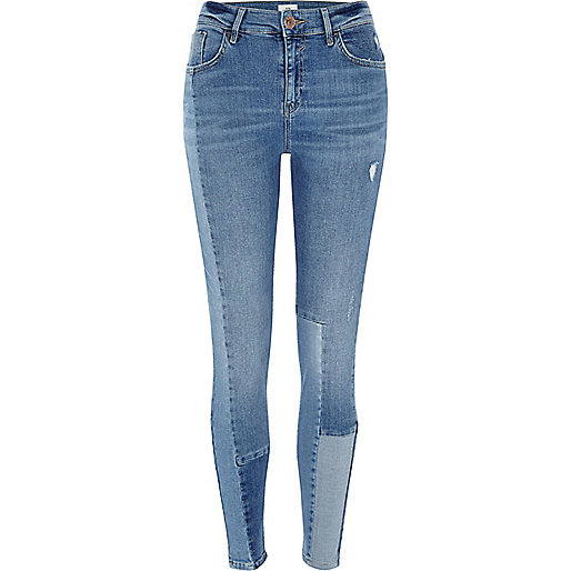 Blue block panel Amelie super skinny jeans