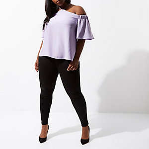 Plus purple cold shoulder halter neck top