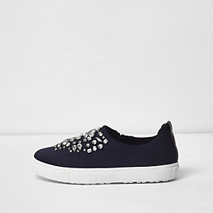 Navy embellished slip on plimsolls