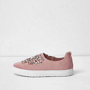 Light pink embellished slip on plimsolls