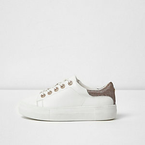 White diamante lace-up trainers