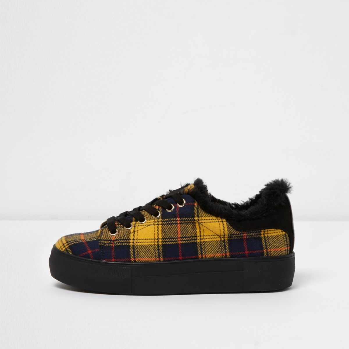 Yellow check chunky lace-up trainers