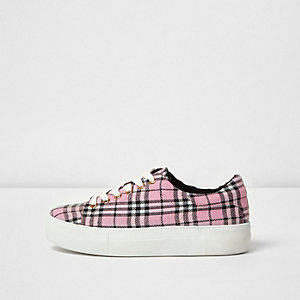 Pink check chunky lace-up trainers