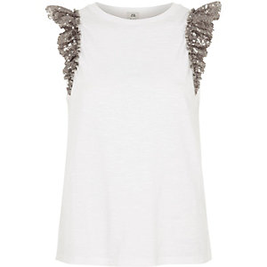 White sequin frill sleeve tank top