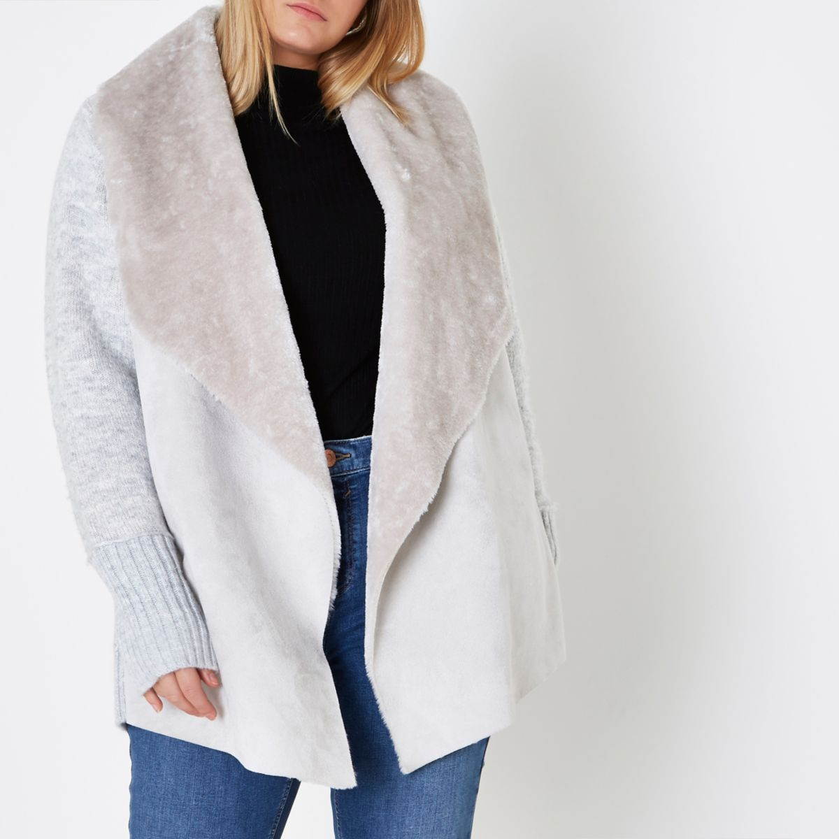Plus grey faux suede front waterfall cardigan