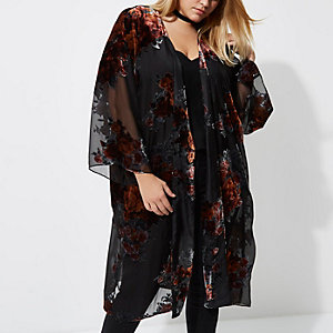 Plus black sheer floral duster coat
