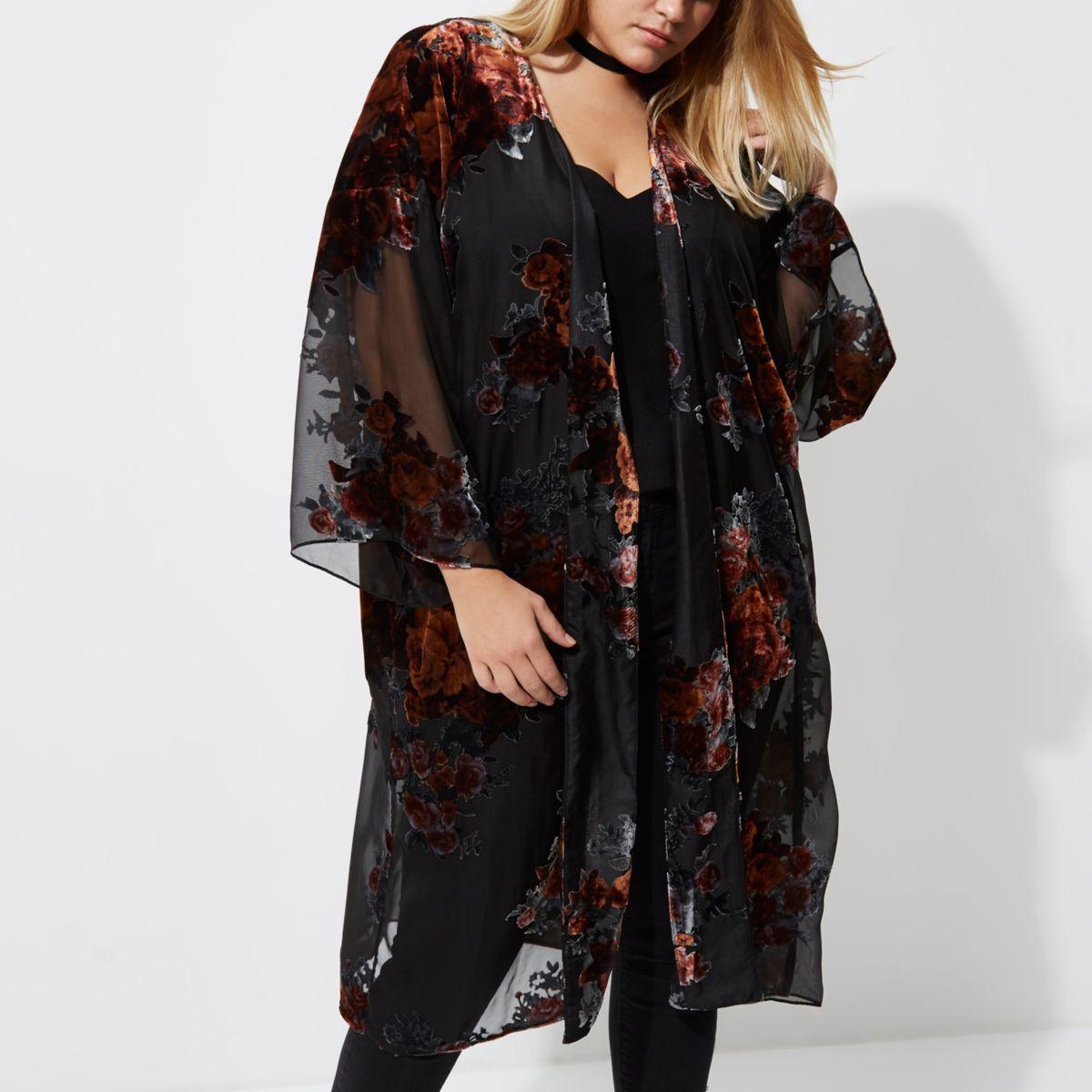 Plus black sheer floral duster coat