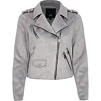 Grey double zip faux suede biker jacket