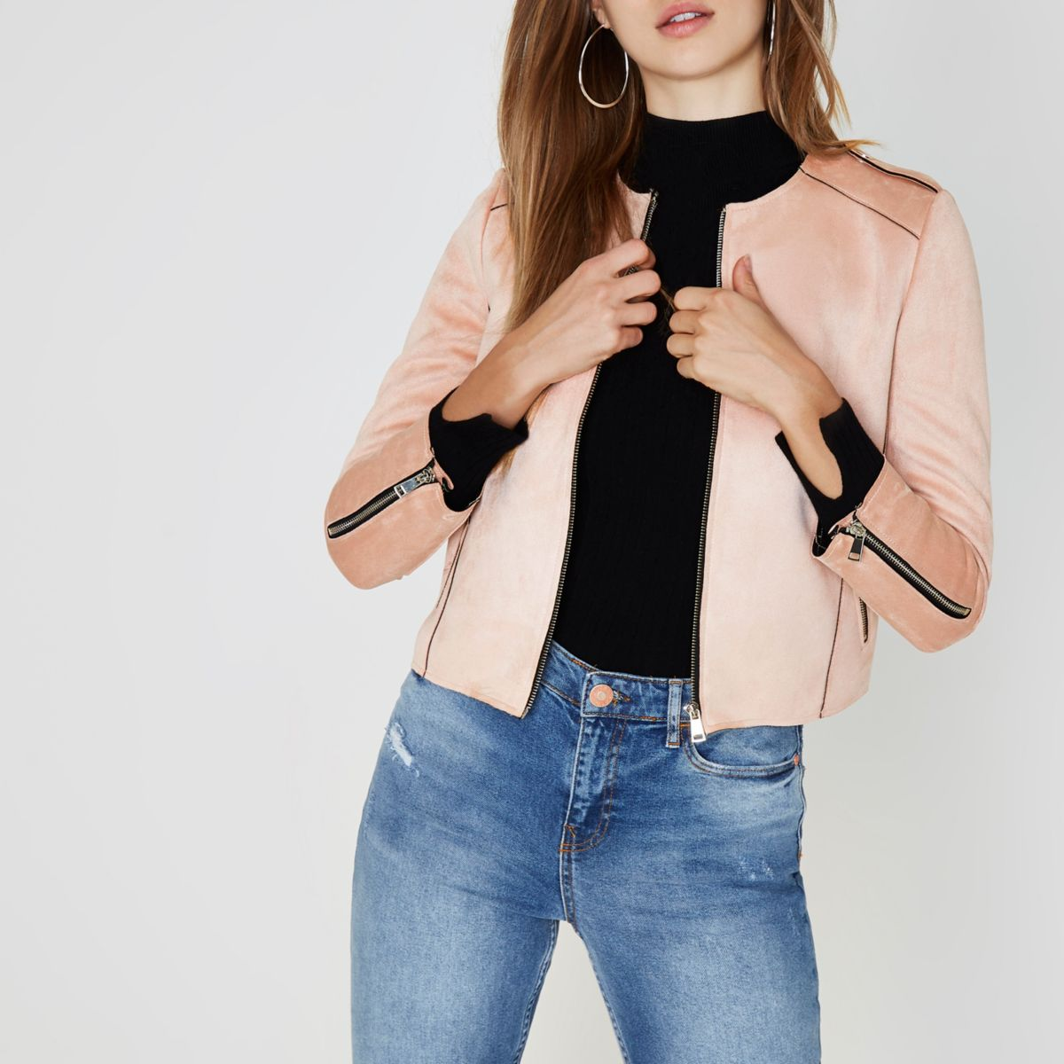 Pink faux suede edge to edge jacket