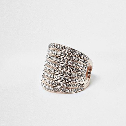 Rose gold tone stacked chunky rhinestone ring