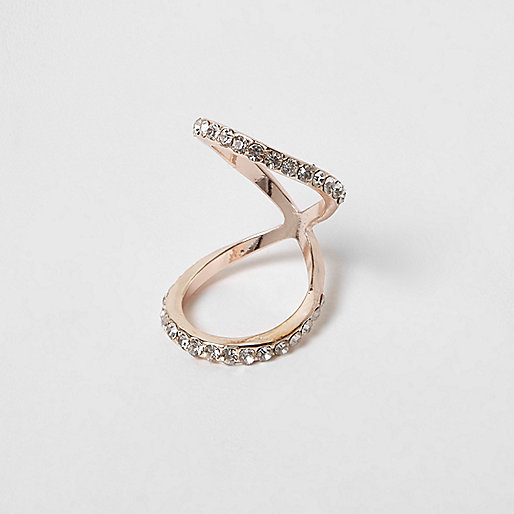 Rose gold tone rhinestone encusted knuckle ring