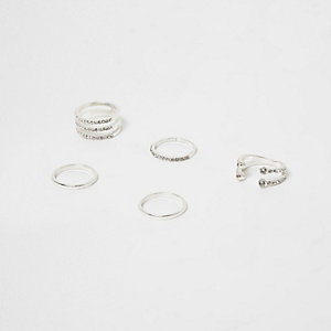 Silver tone diamante pave ring pack