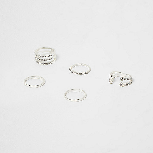 Silver tone rhinestone pave ring pack