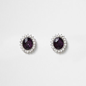 Silver tone amethyst jewel stud earrings