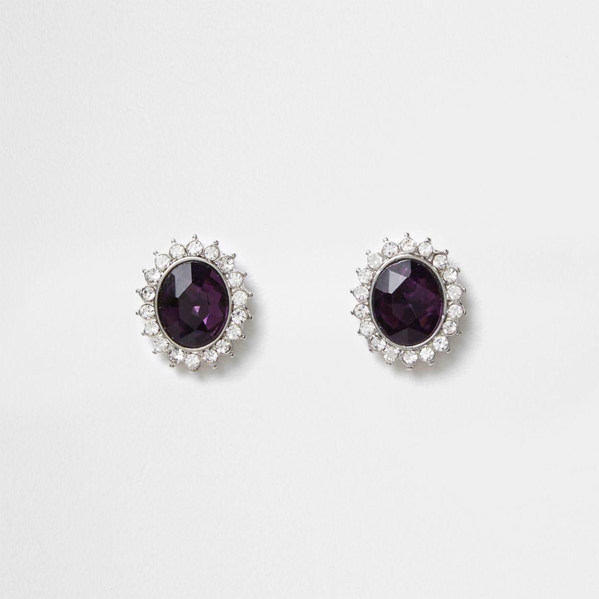 Silver tone amethyst jewel stud earrings