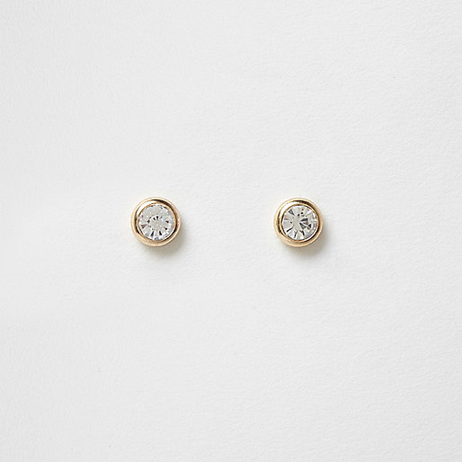 Gold tone crystal gem stud earrings