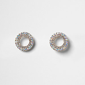 Silver tone crystal pave circle stud earrings