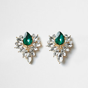 Gold tone emerald jewel cluster stud earrings