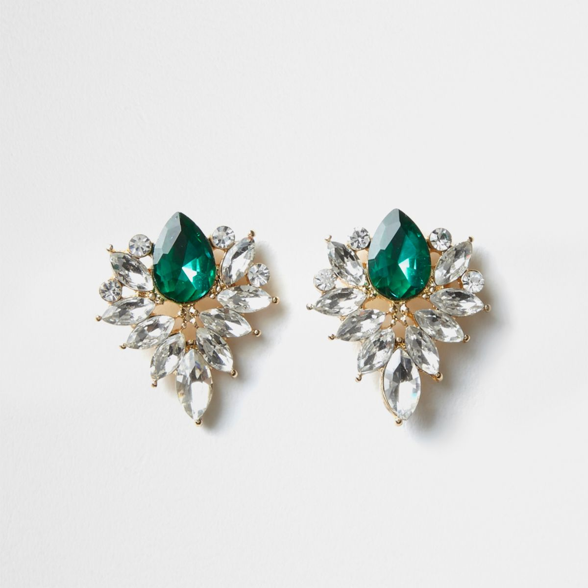 Gold tone emerald jewel cluster stud earrings