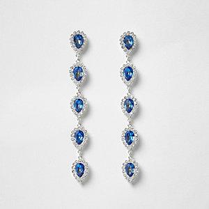 Silver tone sapphire jewel drop earrings