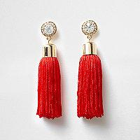 Red tassel drop earrings