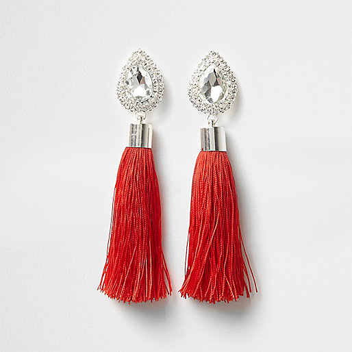 Red teardrop tassel drop earrings