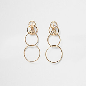 Gold tone interlink hoop drop earrings