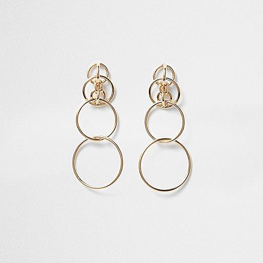 Gold tone interlink hoop drop earrings