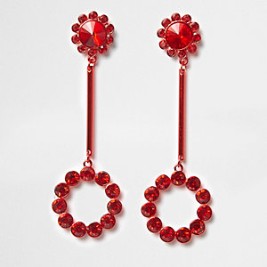 Red cup chain circle drop earrings