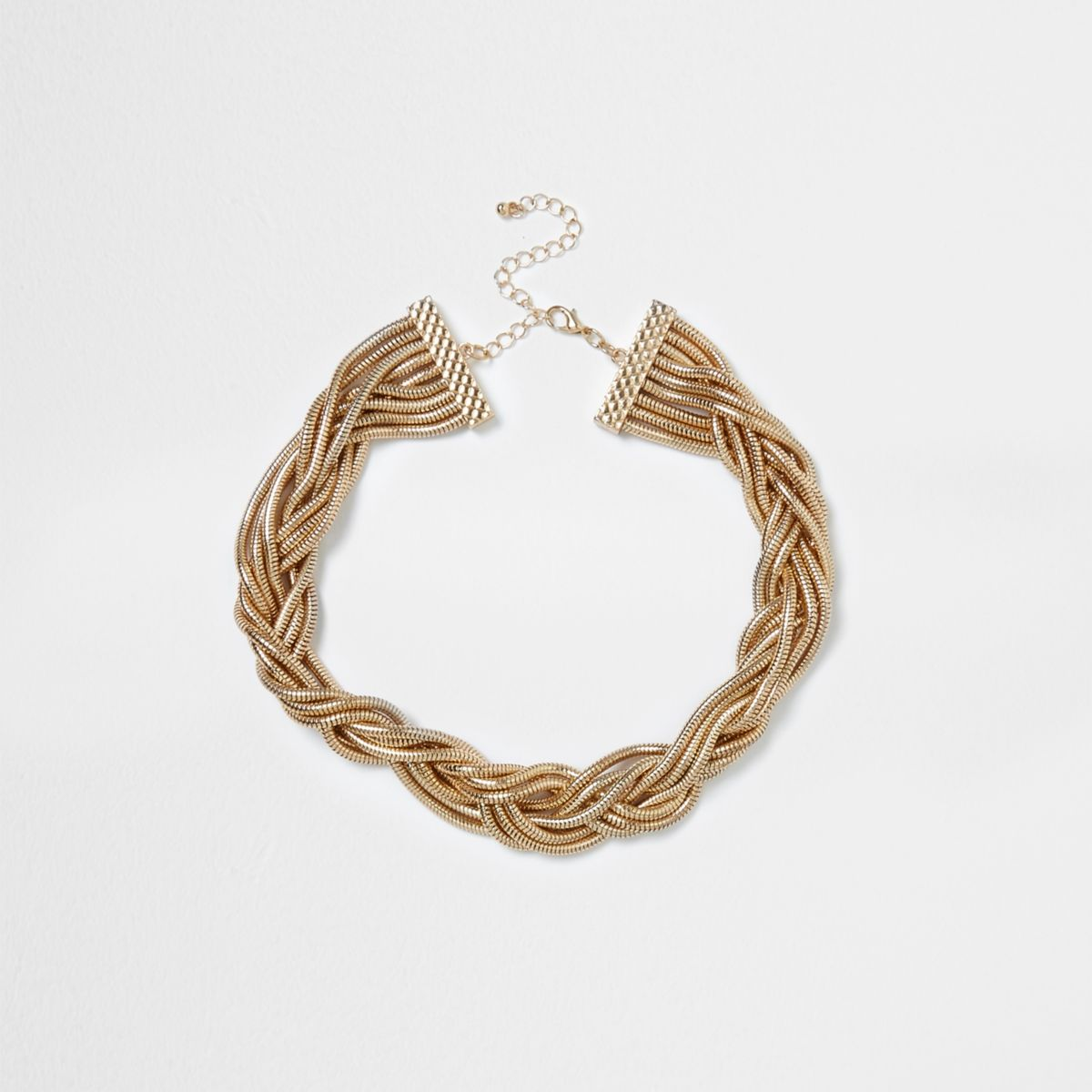 Gold tone snake chain plaited necklace