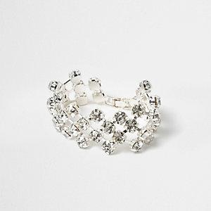 Silver tone rhinestone cup chain bracelet