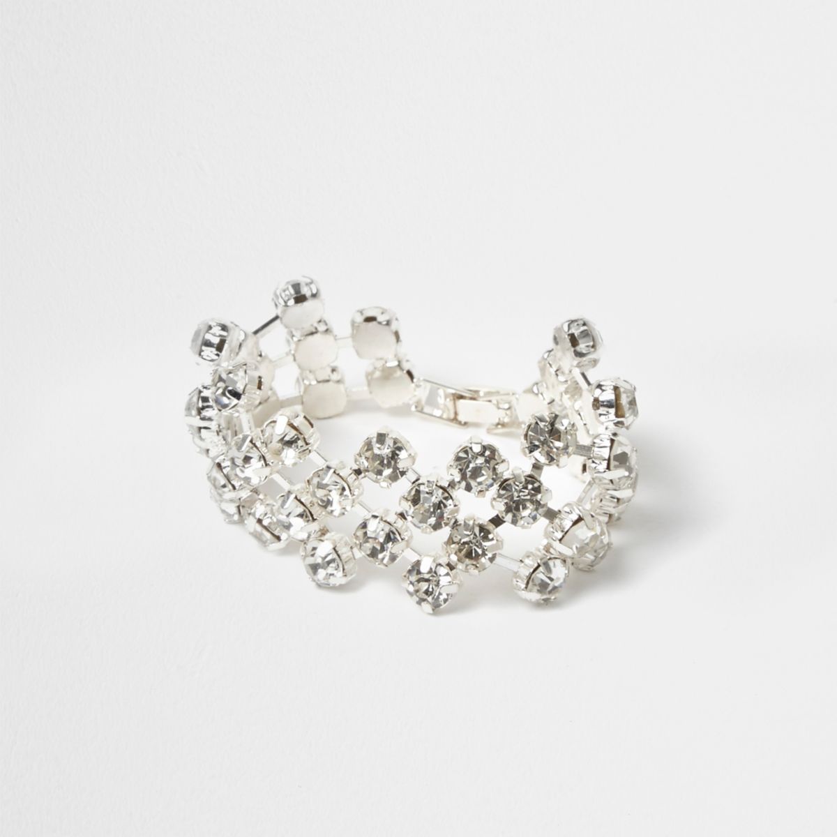 Silver tone diamante cup chain bracelet