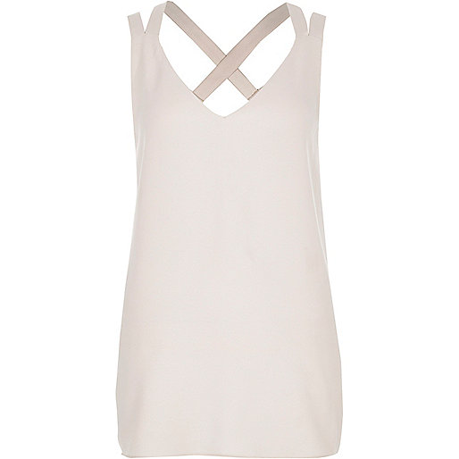 Cream double strap cross back vest