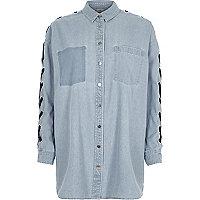 Light blue eyelet lace-up sleeve denim shirt