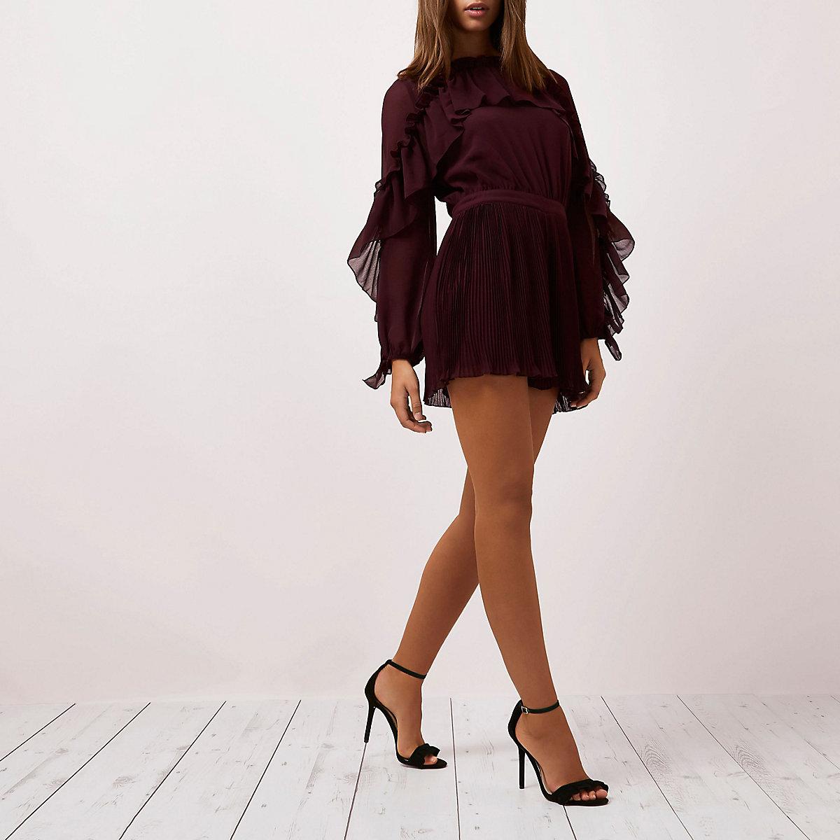 Burgundy long sleeve pleated frill romper