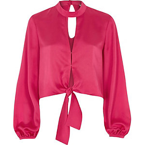 Bright pink satin choker long sleeve crop top