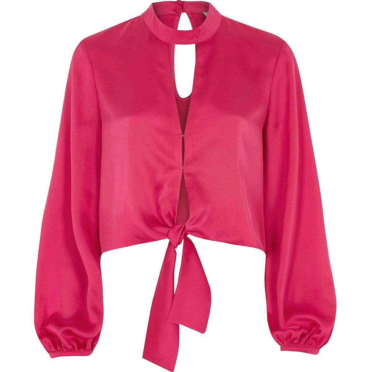 Bright pink satin choker long sleeve crop top