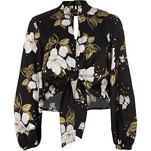 Black satin floral choker tie front crop top