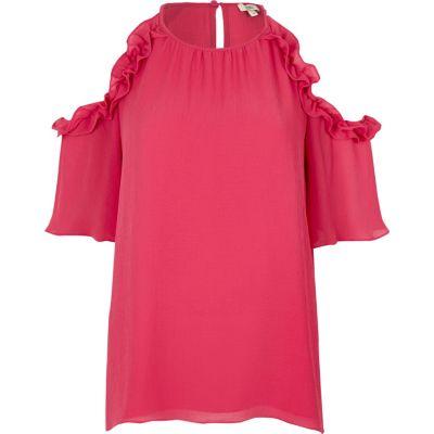 Roze schouderloze blouse met ruches