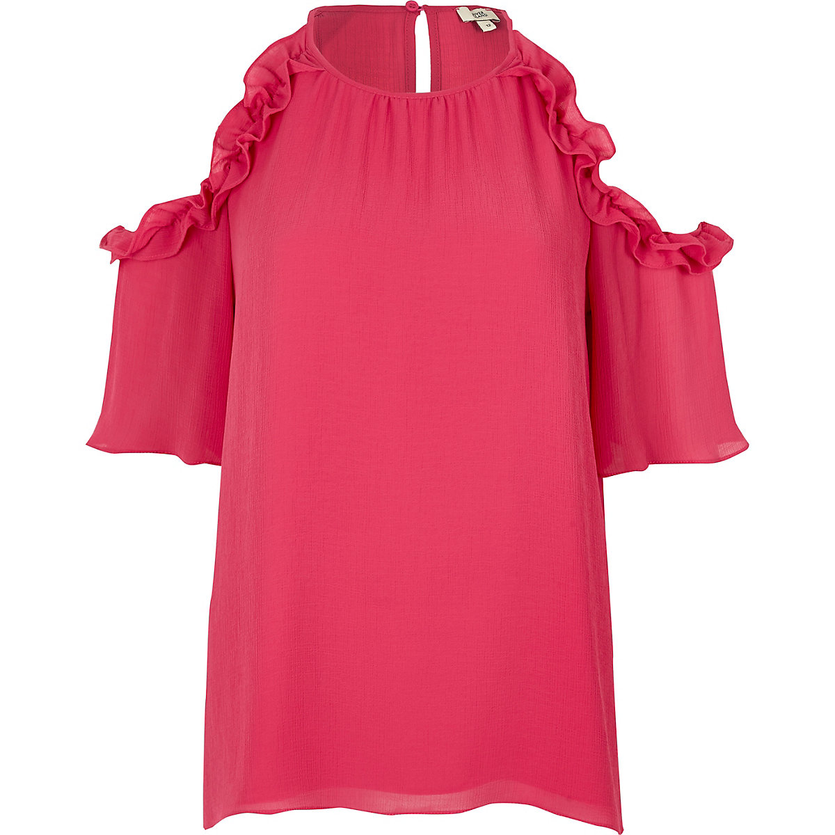 Pink frill cold shoulder blouse