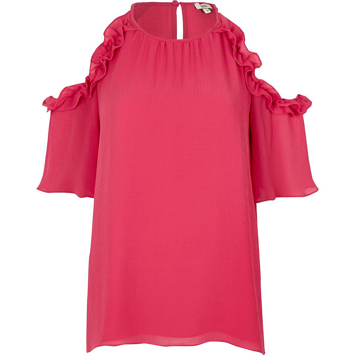Pink frill cold shoulder blouse