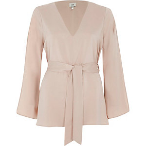 Light pink V neck tie waist blouse