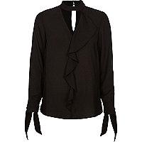 Black frill choker tie cuff blouse