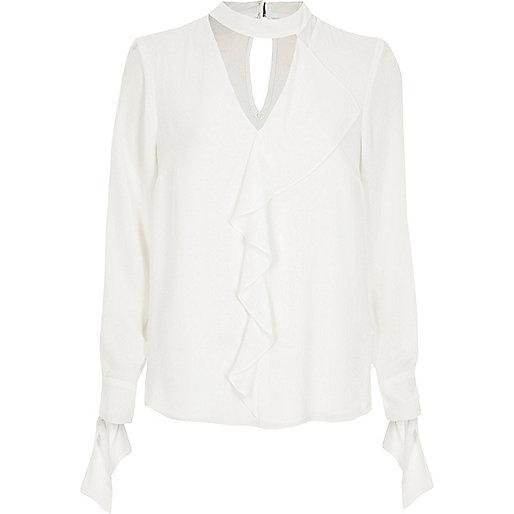 White frill choker long sleeve blouse