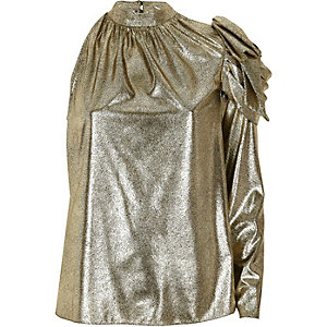 Gold metallic one shoulder top