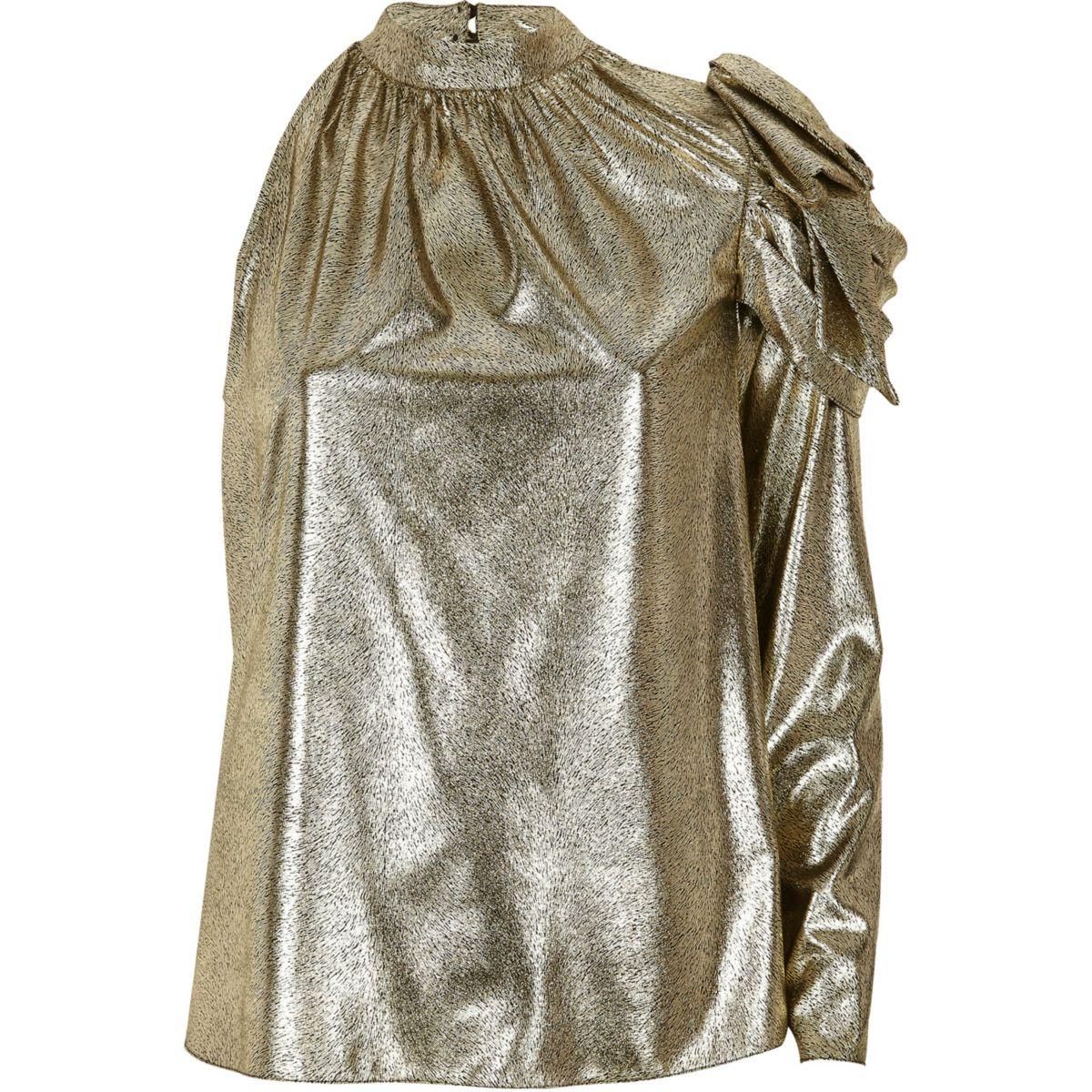 Gold metallic one shoulder top