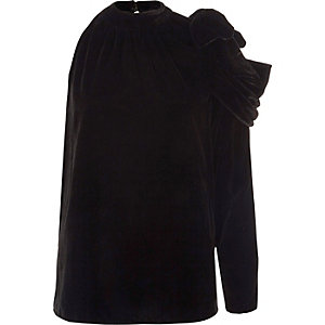 Black velvet one shoulder ruched top