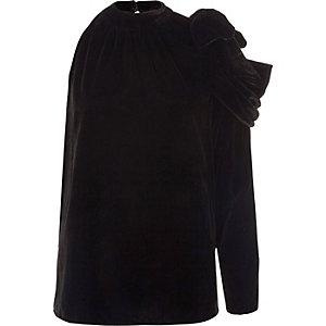 Haut asymétrique en velours noir à fronces
