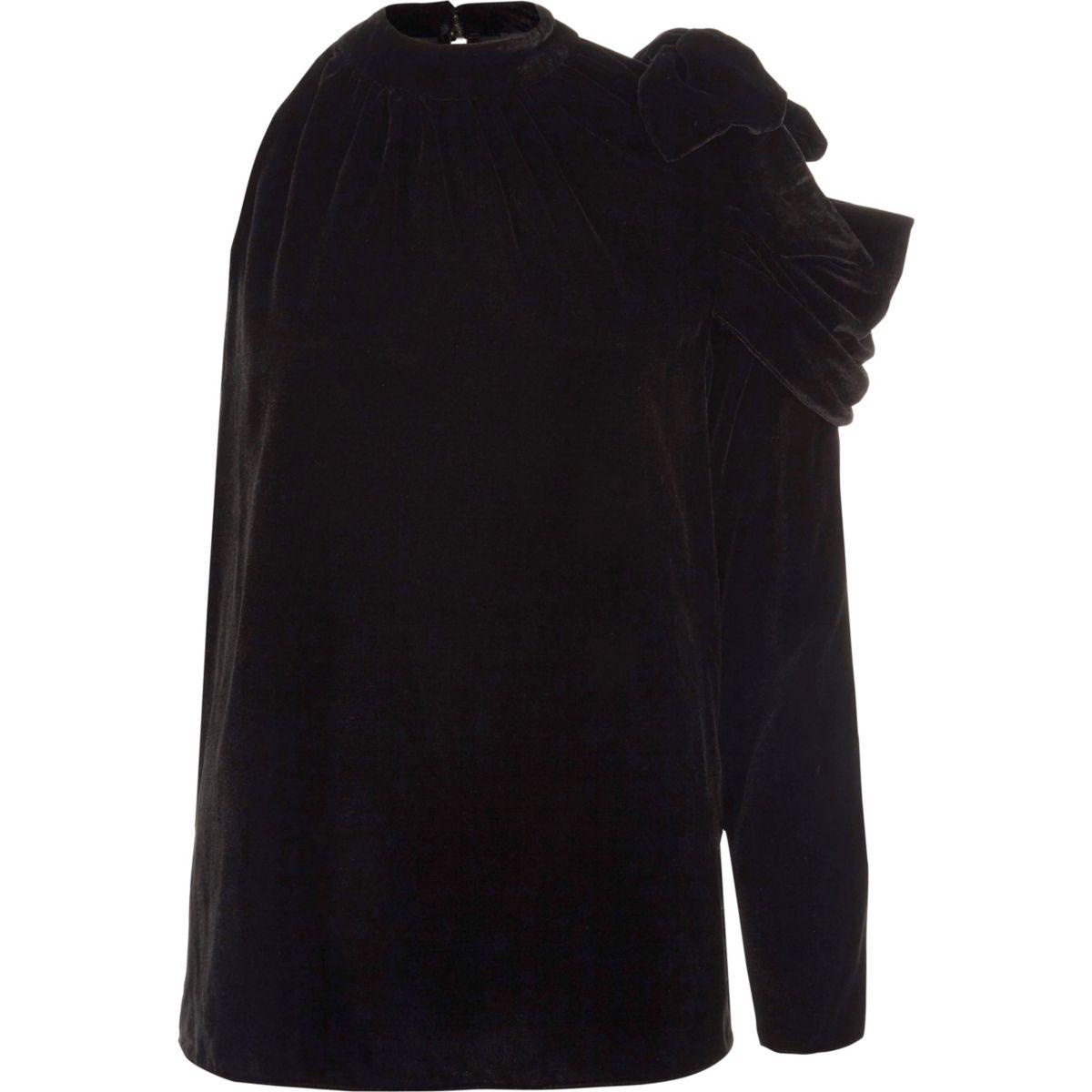 Black velvet one shoulder ruched top
