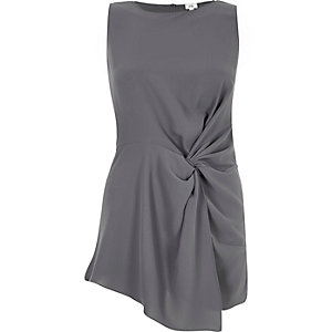 Dark grey twist front sleeveless top